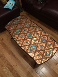 Penny top table created with epoxy and corroded pennies ...