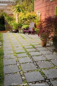 permeable patio with concrete aggregate pavers for water ...
