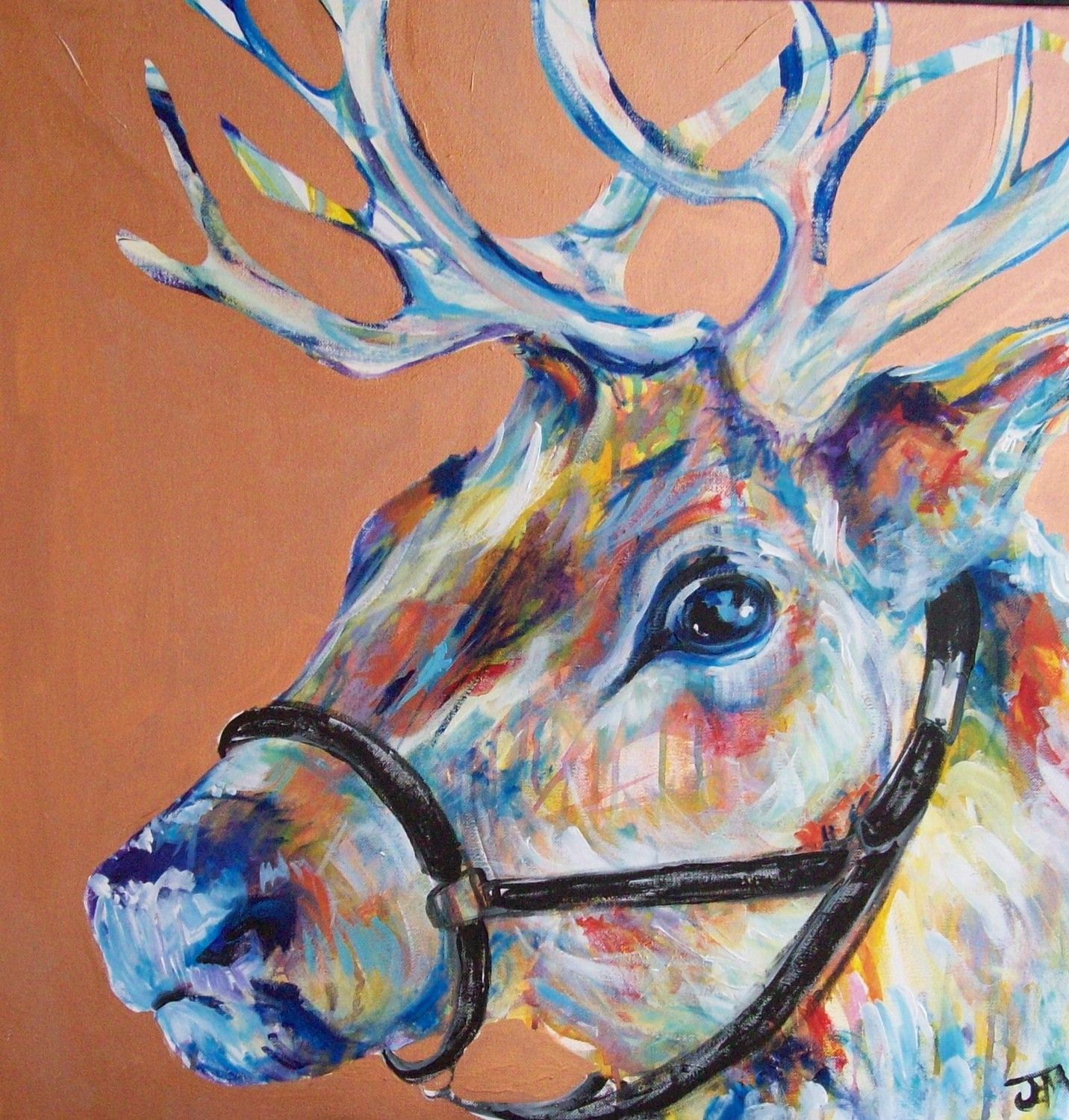 Rustic Canvas Painting Ideas Rustic Rudolf Original Painting 24x24 By Jennifer Moreman