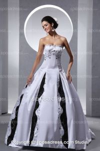 2013 Unique White And Black Embroider Ball Gown Elegant ...