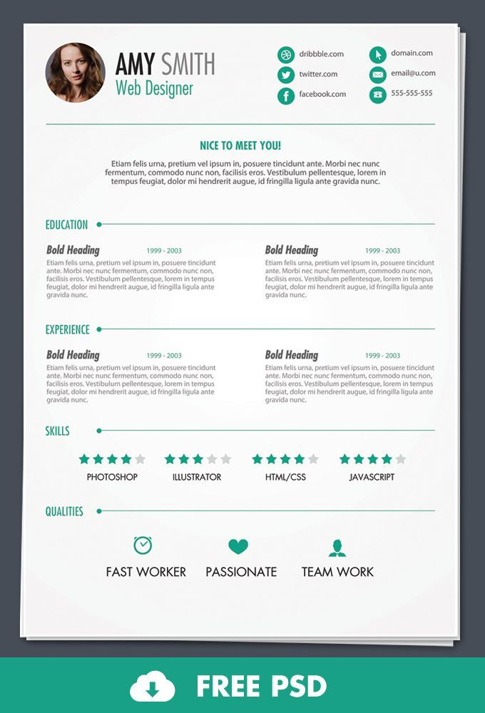 Whatu0027s Hot for Designers This Week #1 Cv template, Cv design - free resume templates to print
