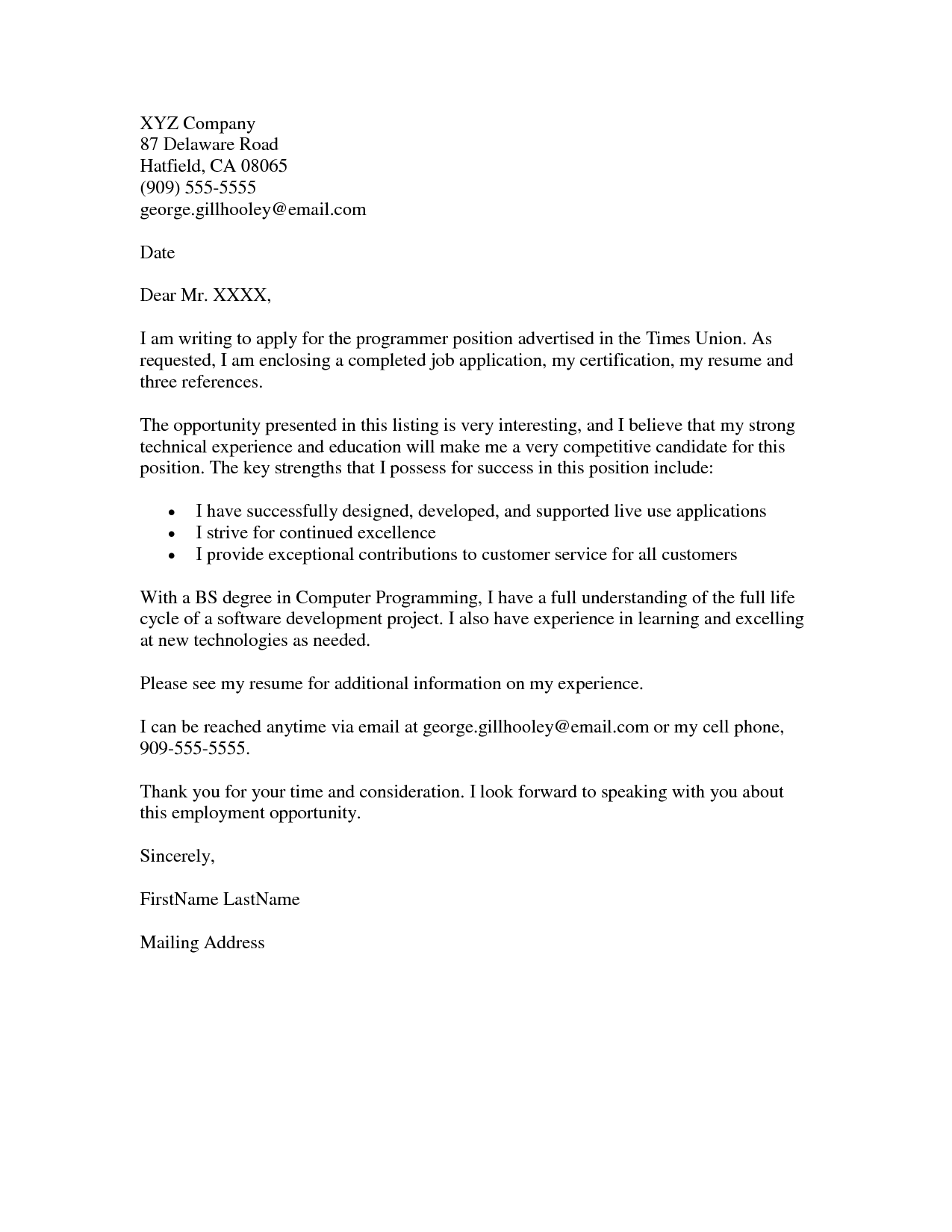 cover letter example for a job application