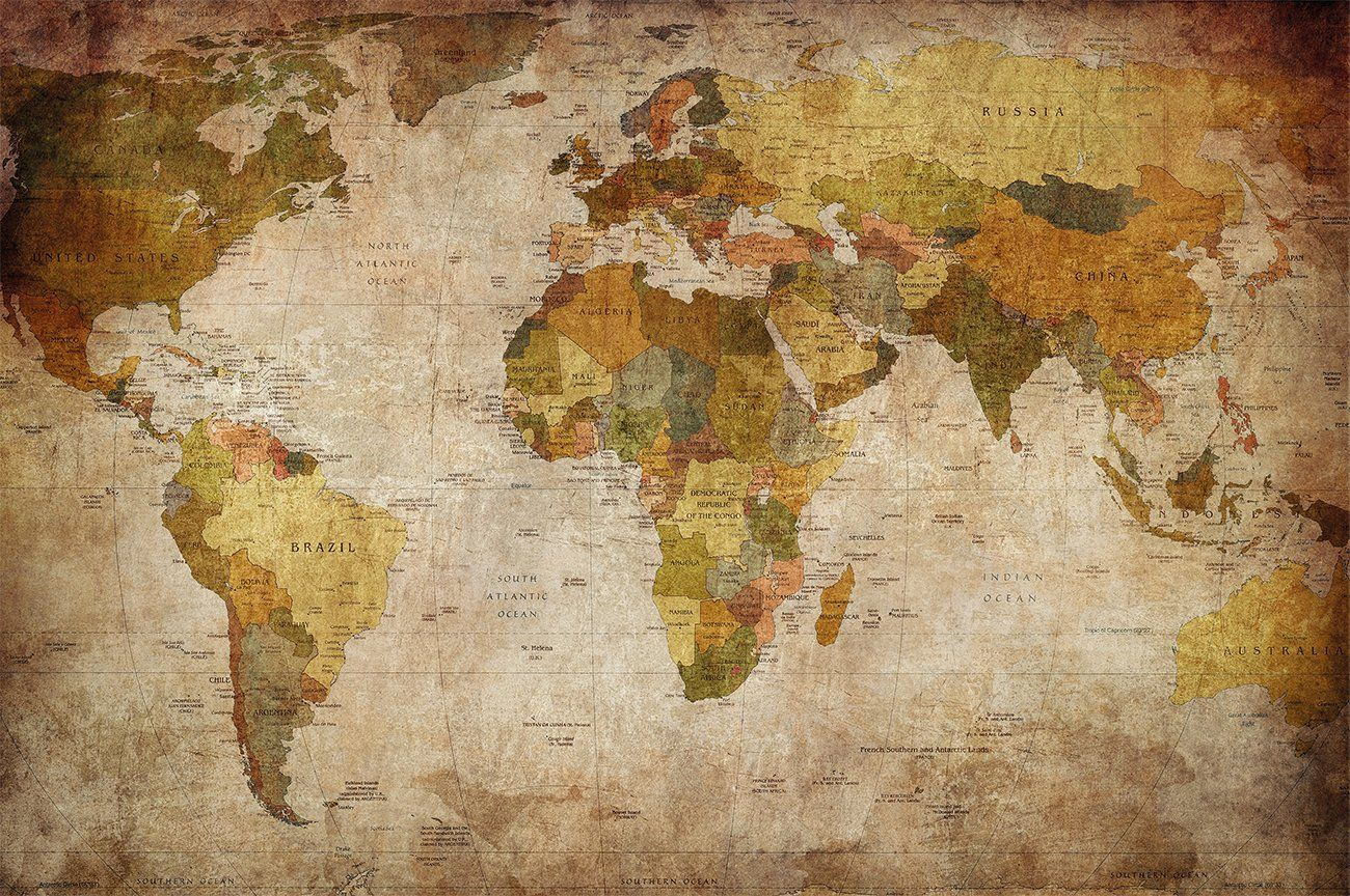 Weltkarte Vintage Style Amazon.com - World Map Photo Wallpaper - Vintage Retro ...