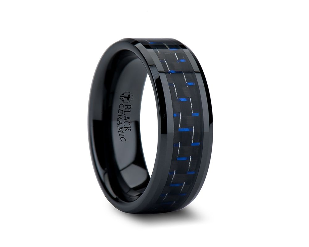 mens titanium wedding bands 8mm AVITUS Black Beveled Ceramic Ring with Blue Black Carbon Fiber Inlay Tungsten Carbide RingsBlack Tungsten RingsMen Wedding