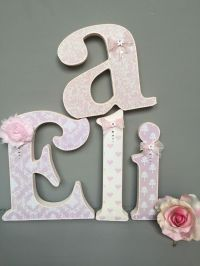 Shabby Chic Pink Cream Decorated Wooden Letters Baby ...