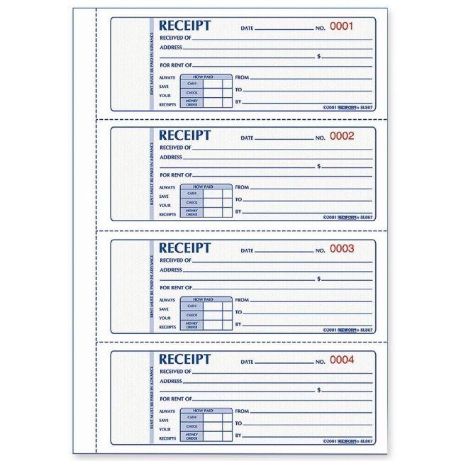 free printable receipts Rediform Rent Receipt Book - Quickship - free receipt book