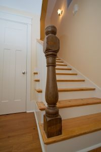 Heart pine stair treads with reclaimed, turned newel post ...