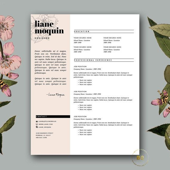 Stylish Resume Template + Cover Letter Creative Resume Design - iwork resume templates