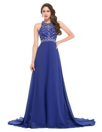 Sexy Long Royal Blue Evening Dresses 2016 Sequined Beaded