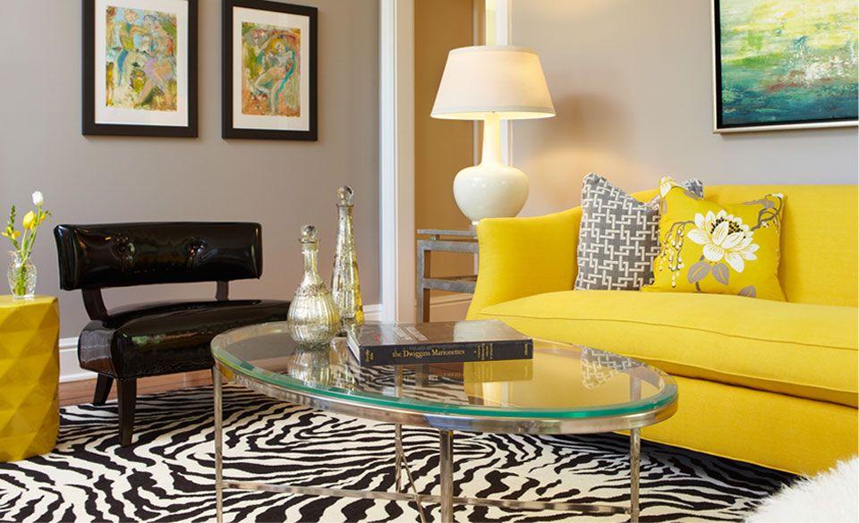 Cozy Living Room With Yellow Sofa and Black-White Carpet Zebra - cozy living room colors
