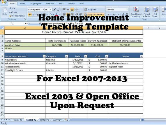 This template will help keep track of various home improvement - rental management template