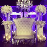 Sweetheart table high back white leather crystal button ...