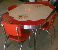 Vintage Kitchen Formica Table 4 Chairs Chrome Orange Red ...