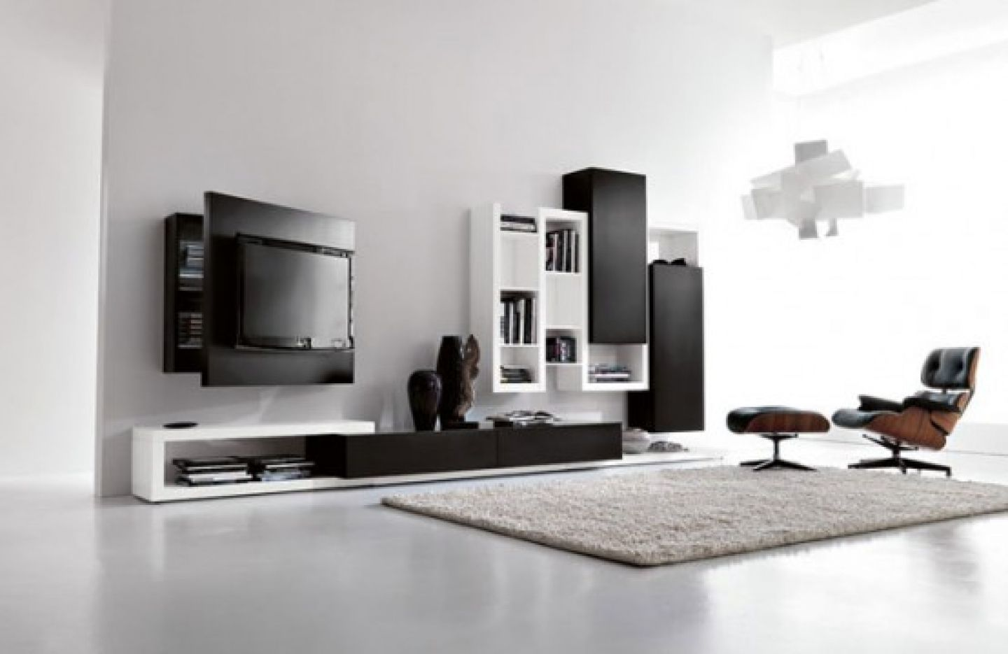 How High To Mount Tv On Wall In Bedroom Living Room Luxurious White Design Black Wall Units