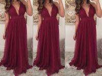Custom Made Burgundy Prom Dresses,V-neckline Long Prom ...