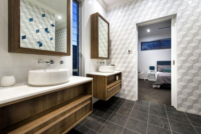 bad holz waschunterschrank graue bodenfliesen mustertapete - gestaltung badezimmer nice ideas