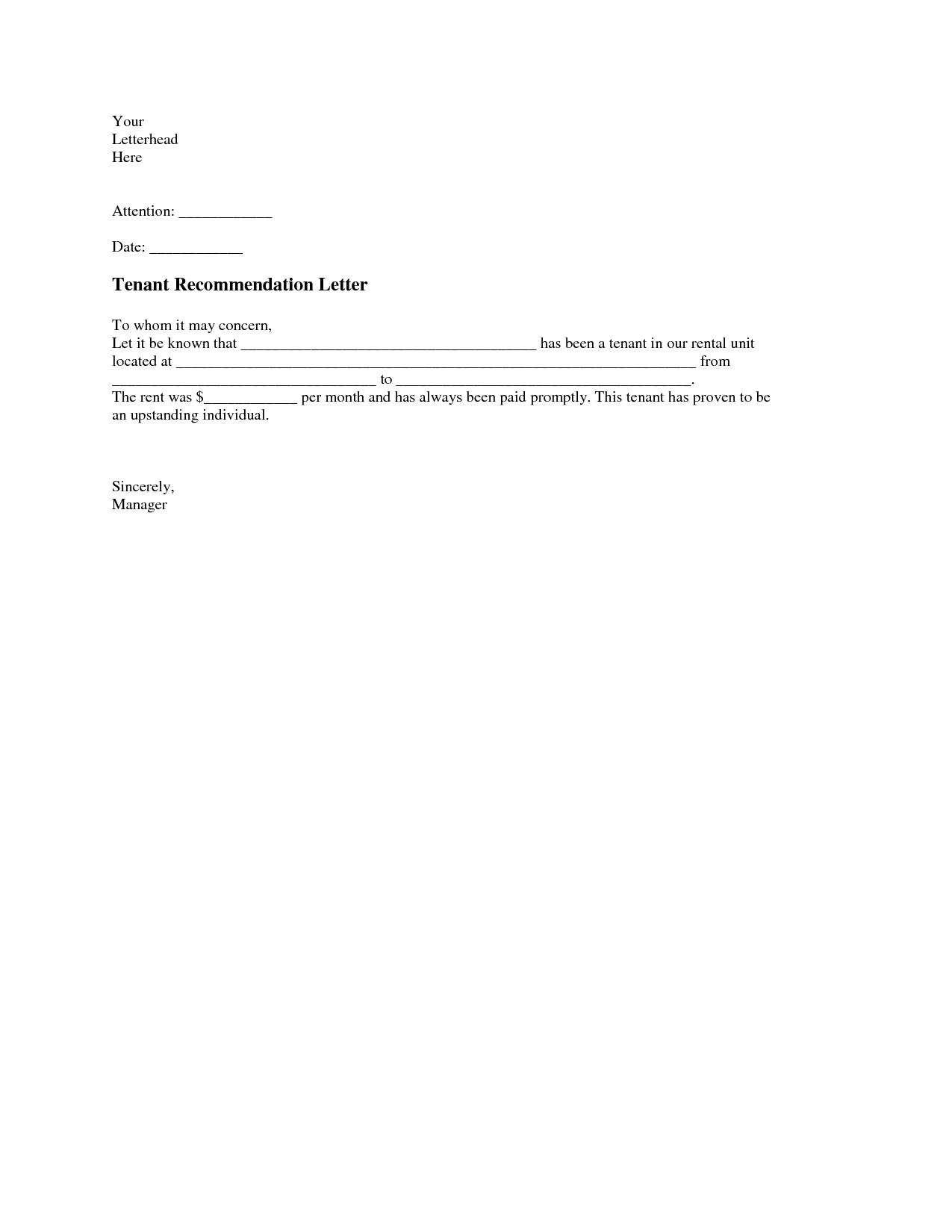 Sample Letter Of Recommendation Letter Samples Tenant Recommendation Letter A Tenant Recommendation