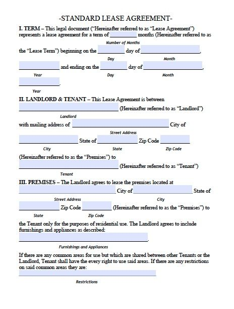 Printable Sample Residential Lease Agreement Template Form Free - apartment lease agreements
