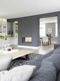 wandgestaltung grau wohnzimmer design sofa sessel teppich ...