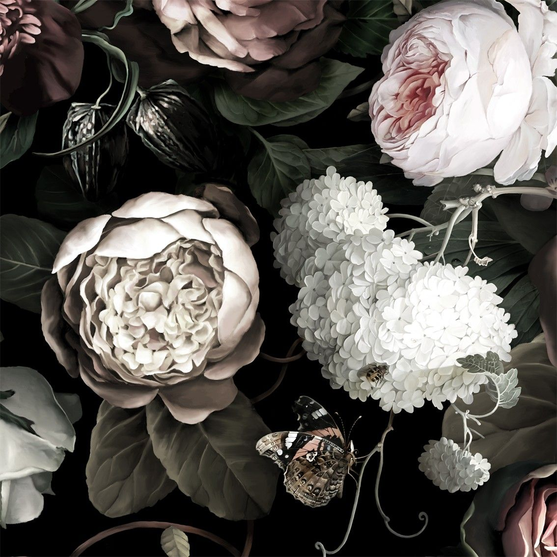 Dark floral ii black saturated floral wallpaper by ellie cashman design