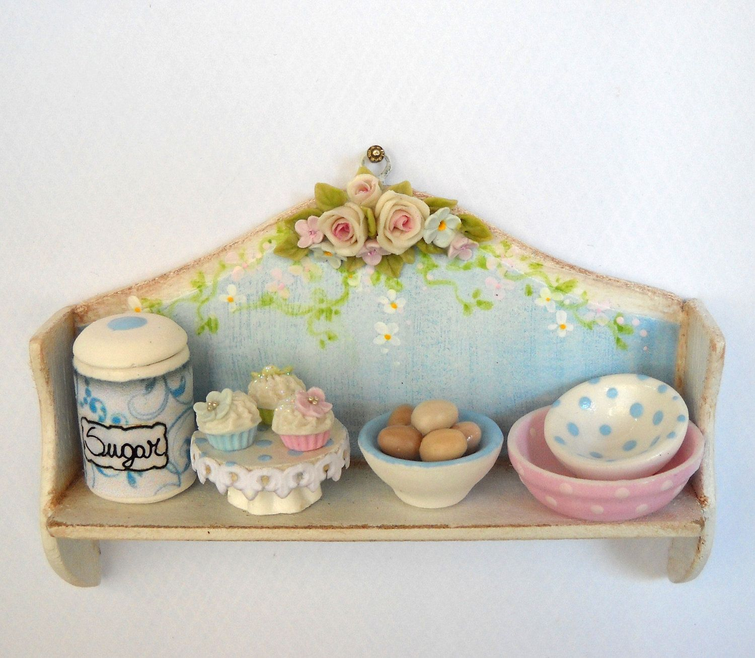 Barbie Küchenmöbel 1 12th Scale Shabby Chic Kitchen Shelf With Accessories