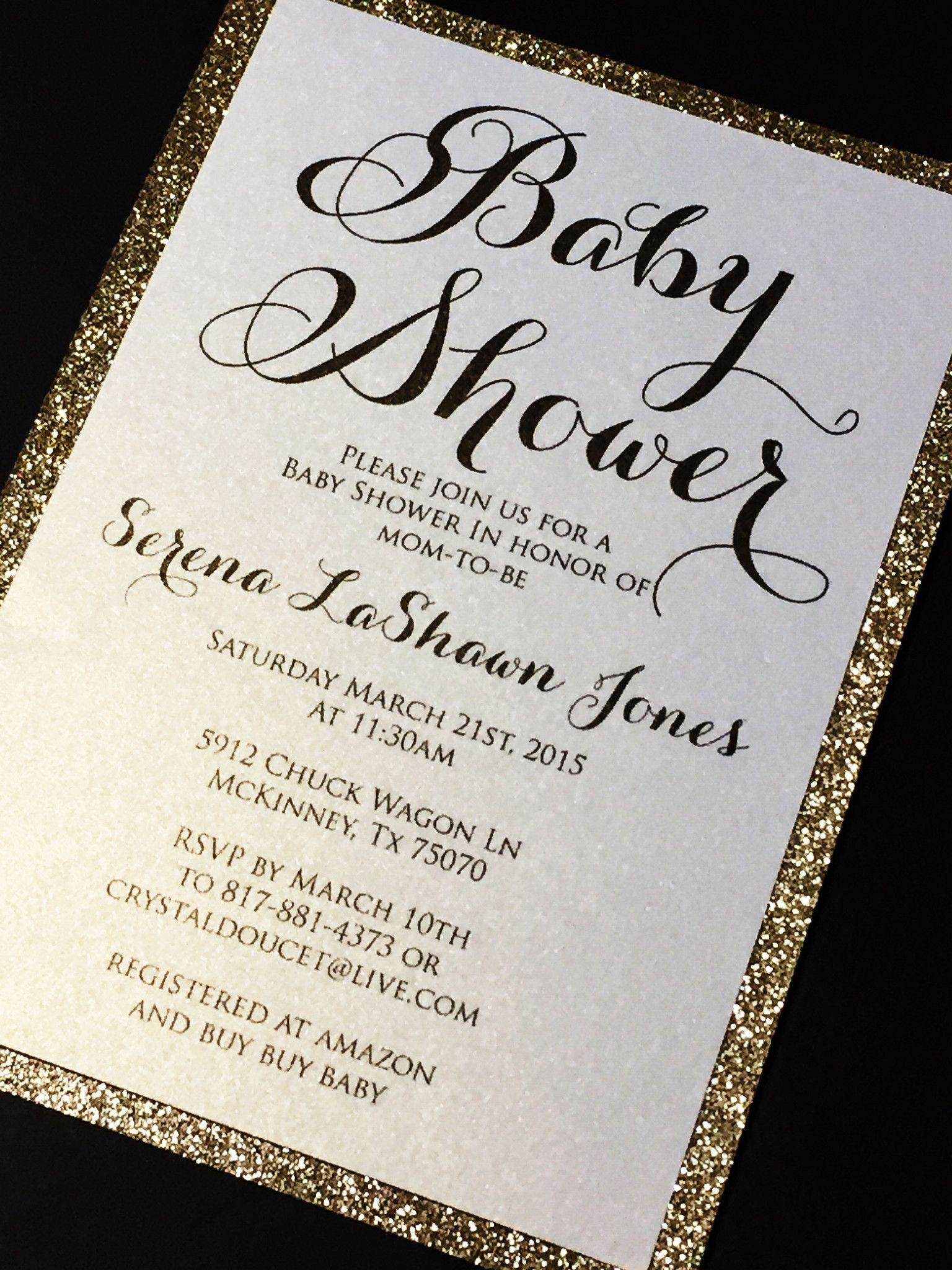 Glitter Baby Shower Invitations Elegant Baby Shower