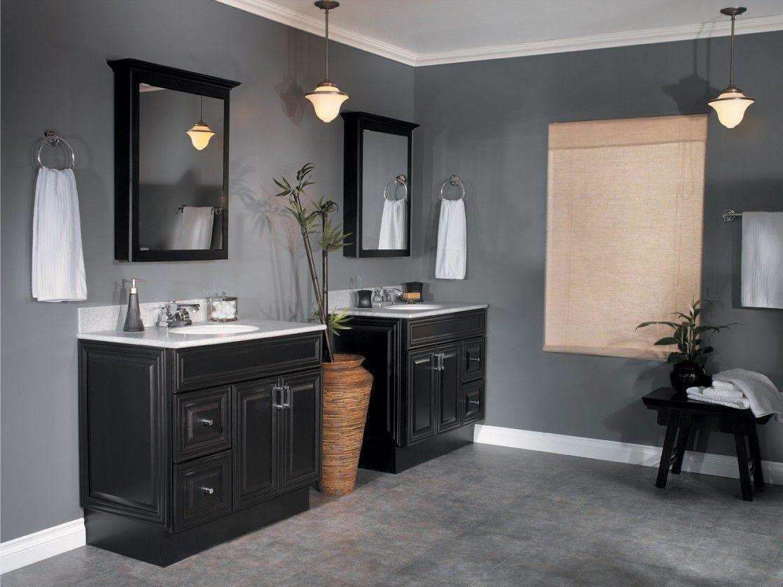 Dark colored bathroom designs -  Dark Gray Master Bathroom Wall Colors Ideas Featuring Black Download