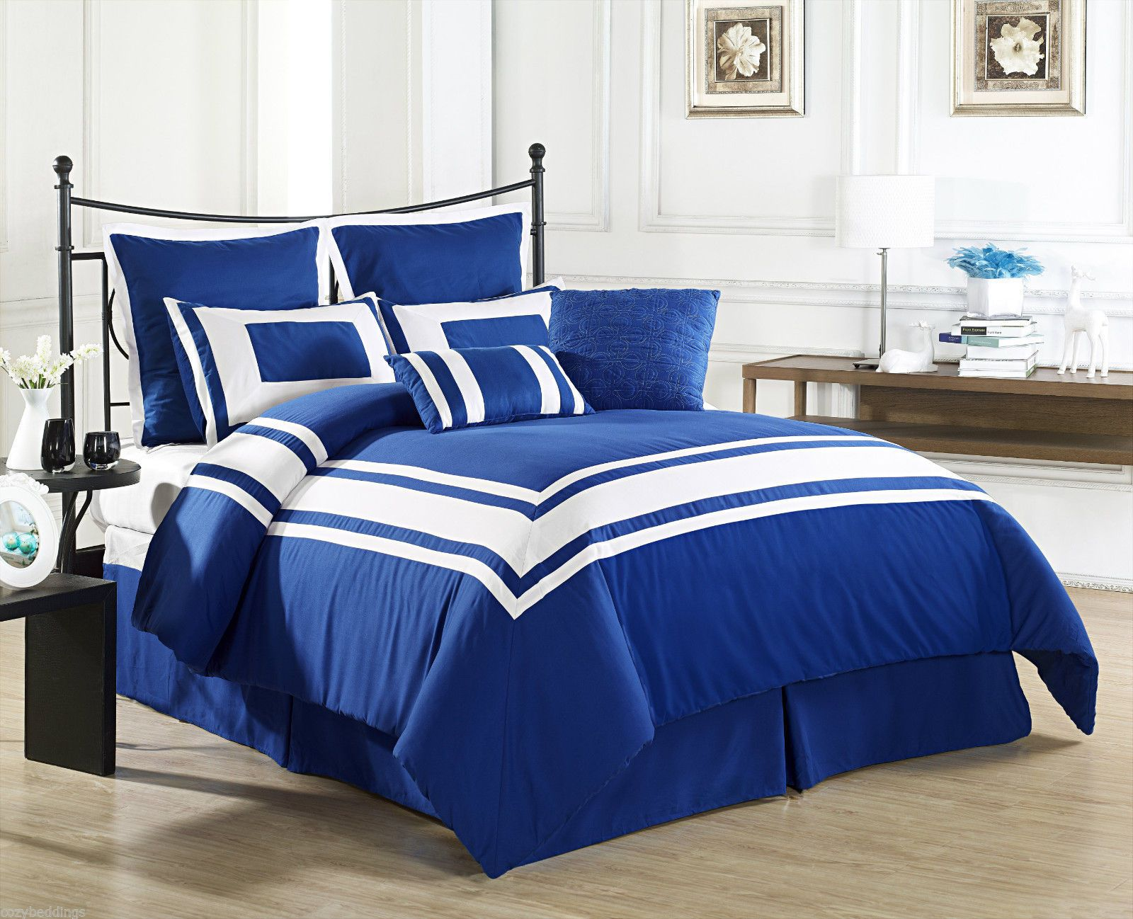 Lux decor royal blue queen size bed 8 piece comforter set white stripe bedding