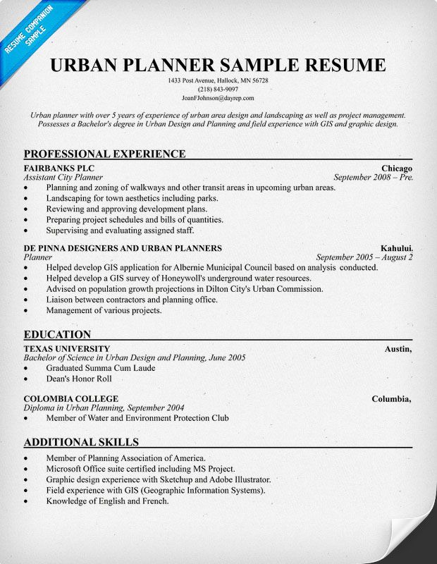 Urban Planner Resume (resumecompanion) #architecture Resume - quotes for resumes