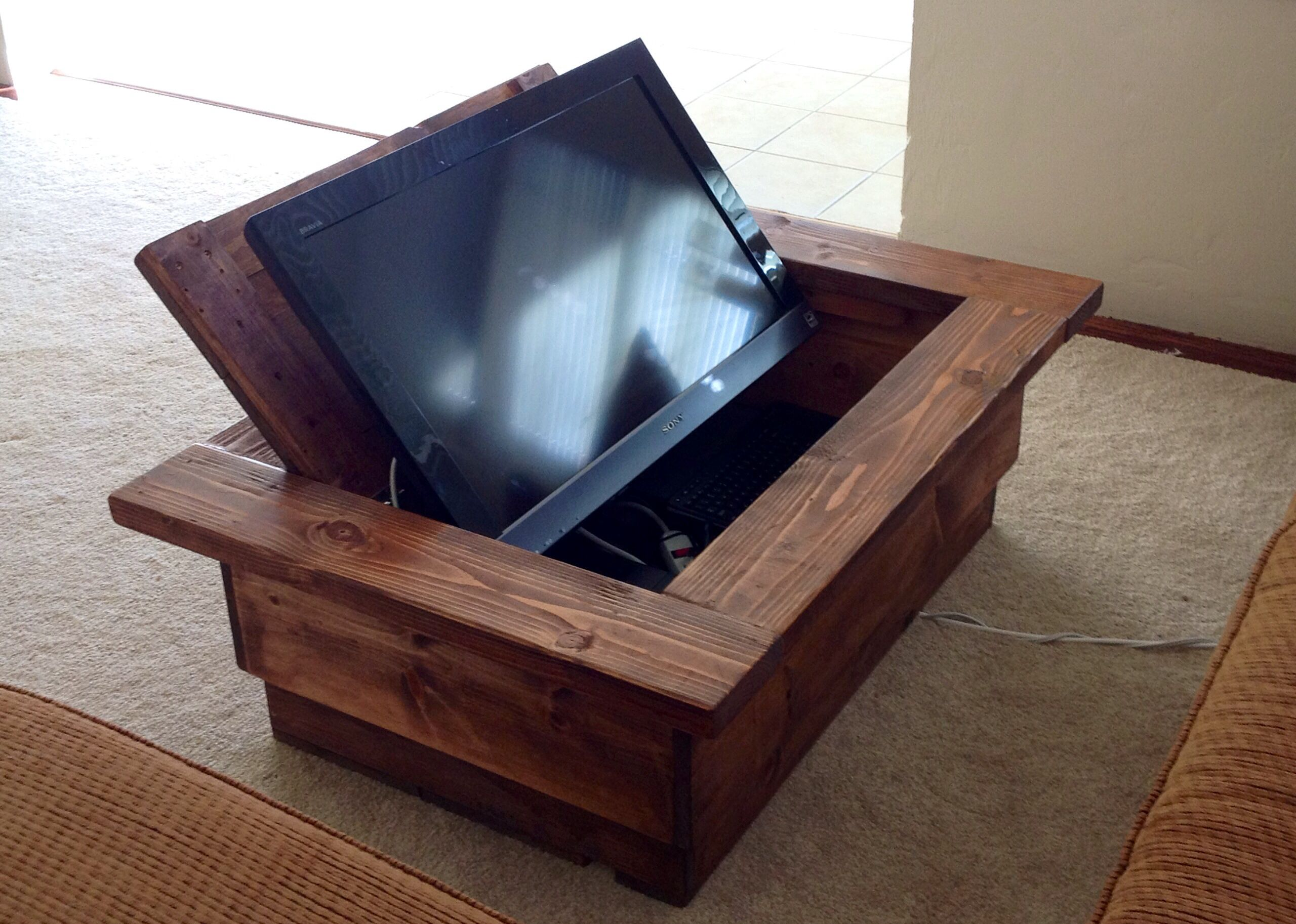 Tv Table Hidden Tv Coffee Table Don 39t Have To Have Such A Large Tv