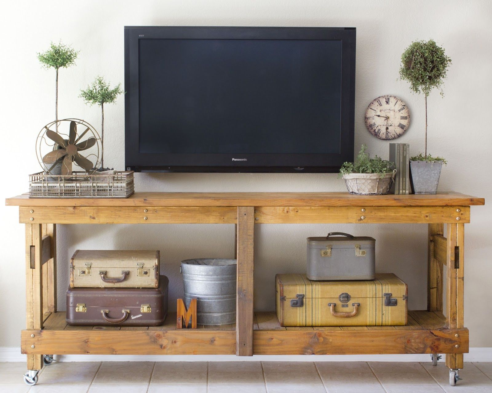 Decorate Wall Around Tv Decorate Around The Tv With A Workbench Console And