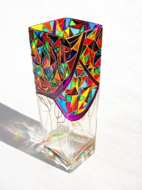 Hand Painted Colorful Glass Vase Mocaic Glass Stained by ...