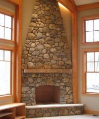 rock fireplace images | Large Stone Corner Fireplace ...