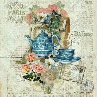 Teapot, teacup, Paris, roses, postcard, on faded blue with ...