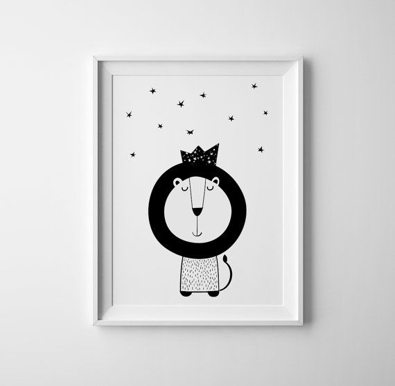Little lion prince art for baby nursery. Print and wall