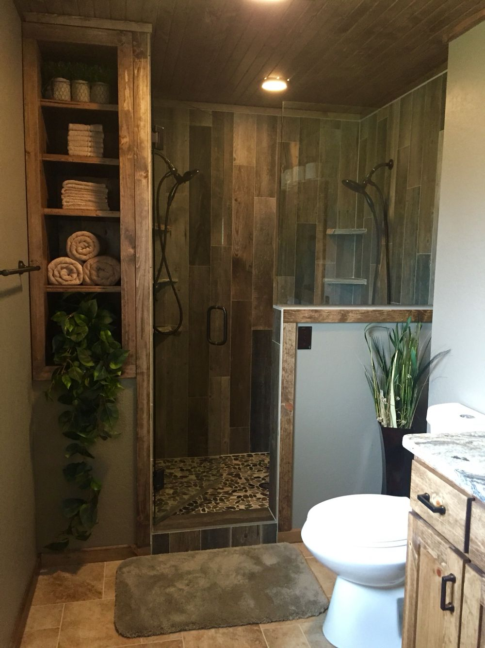 Rustic master bathroom upgrade, wood tile shower, custom
