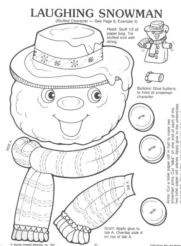 lunch bag template SNOWMAN PAPER BAG CRAFT learningenglish-esl - snowman template