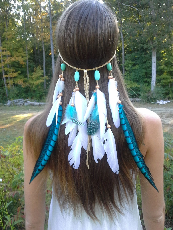 native american wedding dress Turquoise Princess Feather headband native american style indian headband hippie headband Hair Jewelry costume wedding veil
