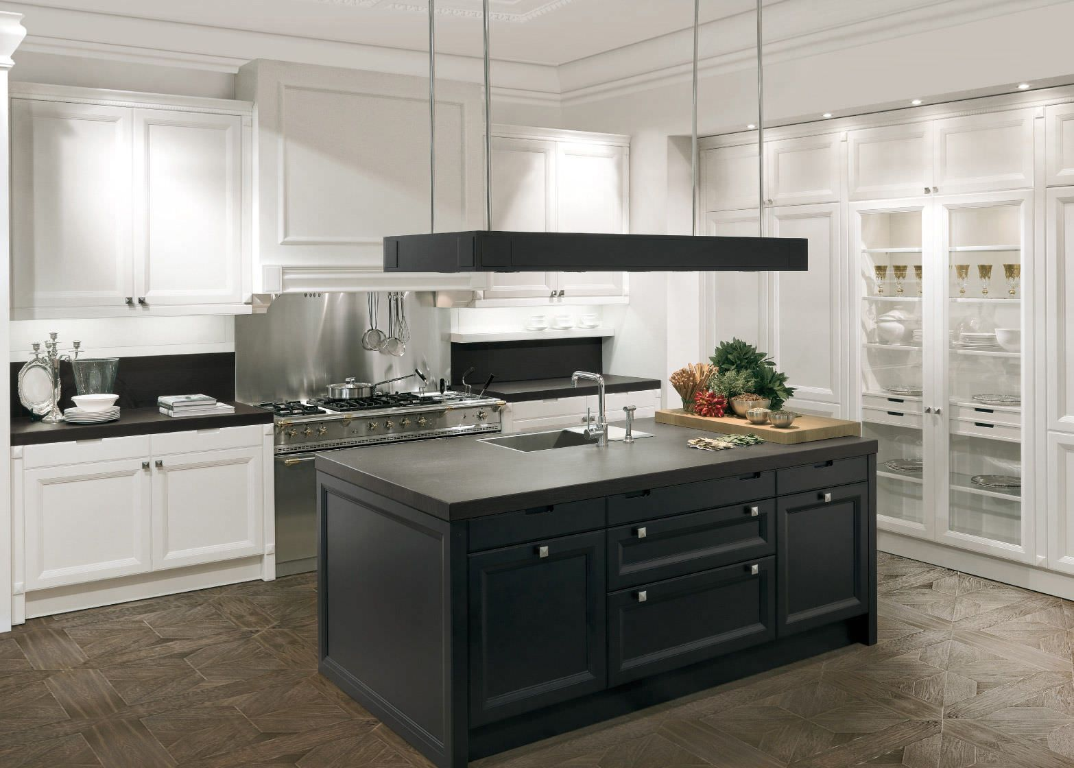 Kitchens With White Cabinets And Black Countertops White Cabinets Black Island With White Kitchen Cabinet