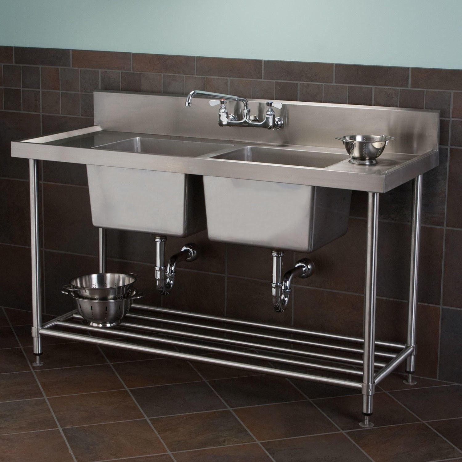 Stainless Steel Double Sink Stainless Steel Double Bowl Commercial Console Sink With