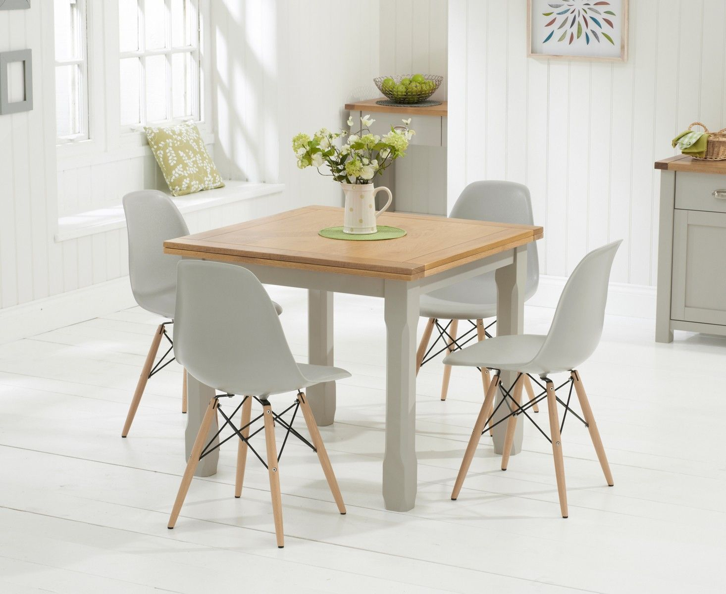 Eames Style Dining Table And Chairs Somerset 90cm Oak And Grey Flip Top Extending Dining Table