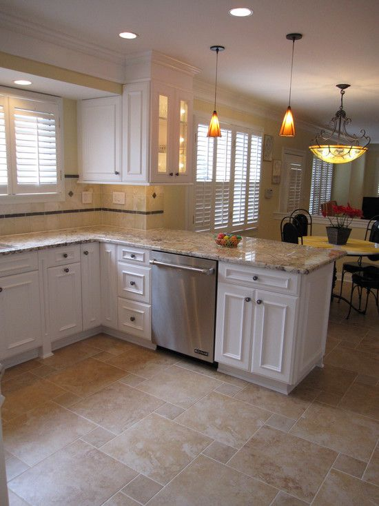 Kitchen Idea of the Day Perfectly smooth transition from hardwood - kitchen tile flooring ideas