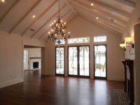 Buttboard ceiling treatment with beams, cathedral ceiling ...