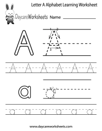 Free Letter A Alphabet Learning Worksheet for Preschool ...