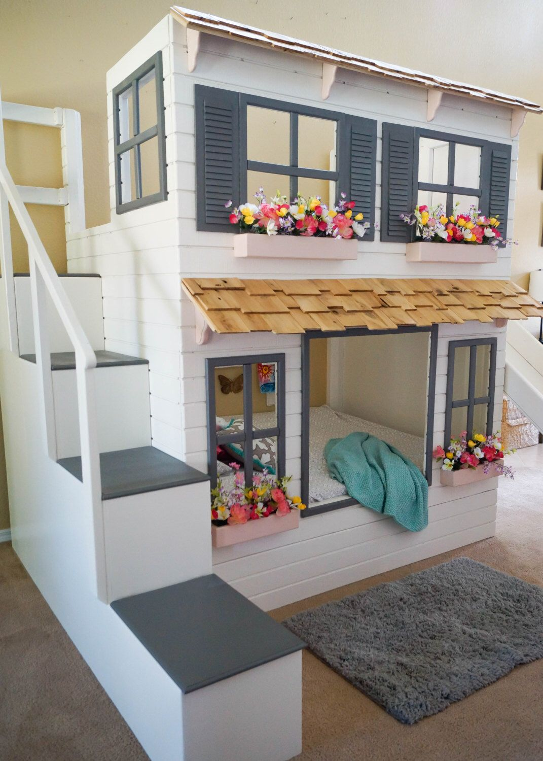 Ikea Kinderbett Mit Rutsche The Ultimate Custom Dollhouse Loft Or Bunk Bed, Trundle