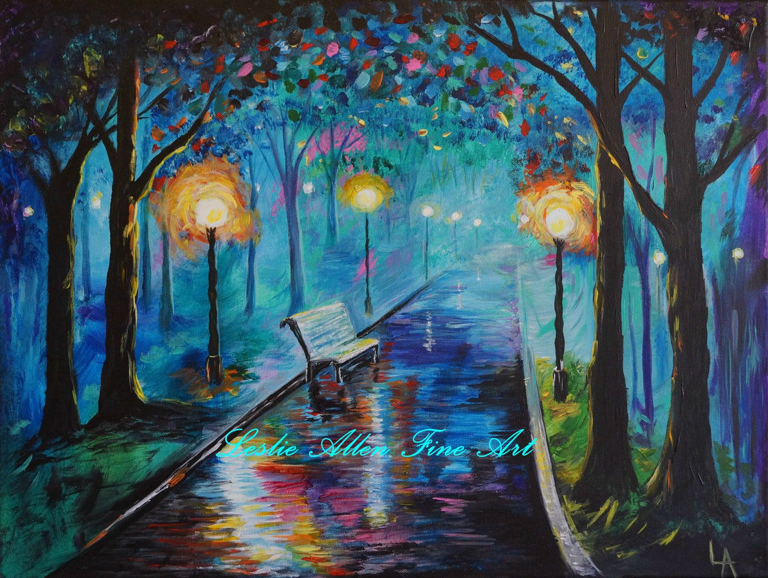 Street Light At Night Painting Park Path Pathway Bench Abstract Lighted Night Scene