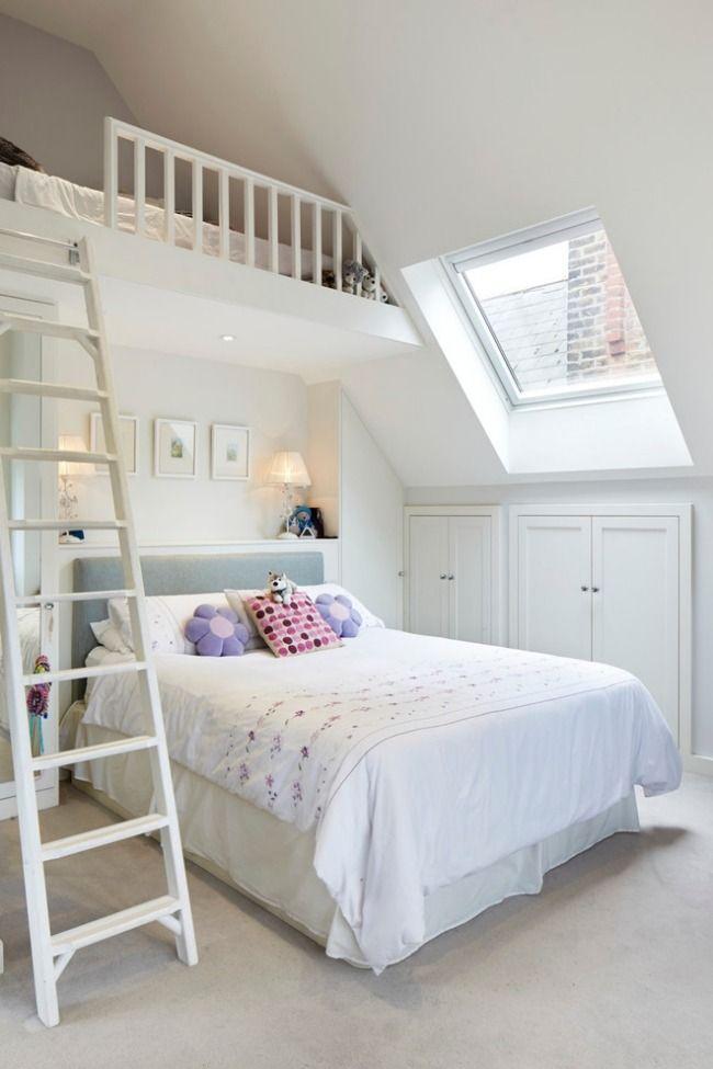 kleines Kinderzimmer mit Dachschräge weiß streichen und optisch - zimmer weis streichen