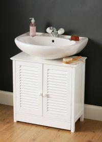 White wooden under sink bathroom storage cabinet caddy ...