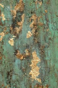 SOLD* Textured Gold Leaf Turquoise Painting, Original ...