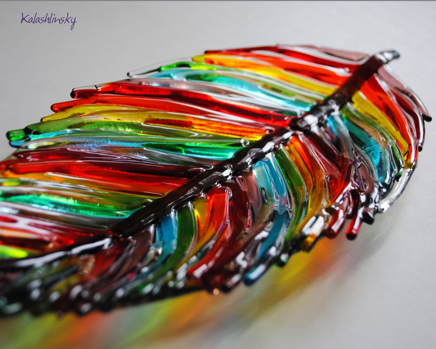 Glas Art Dish Quotfeather Quot Fused Glass Art Fused Glass Glass Art